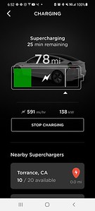 Our decision to take out has an additional purpose as Valerie had intentionally let her Model 3 get low on charge knowing that we wanted to try the new V3 Tesla Supercharger that recently opened at nearby Del Amo Mall.  As you can see, it is a LOT faster...nearly 600 miles per hour!  Unfortunately, my Model X has older battery tech and won't be able to charge at this higher rate.