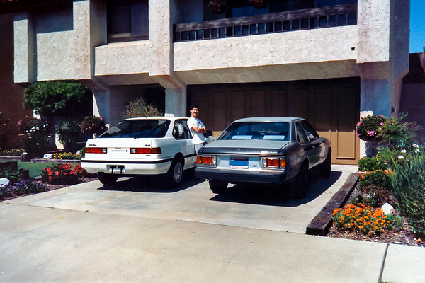 I park my 1979 Toyota Celica GT next to a brand new 1989 Acura Integra.  What a difference 10 years makes.  The Tsujis bought a 1989 Acura Integra...and Wayne gets to drive it (and it will eventually become his...just as this Celica was my mom's).