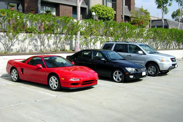 Acura NSX, Lexus IS300, Honda Pilot (front quarter - wide)