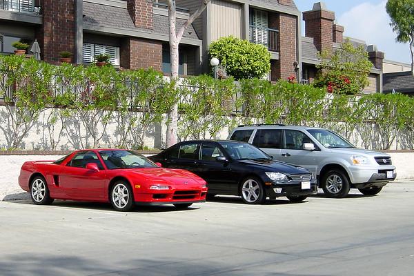 Acura NSX, Lexus IS300, Honda Pilot (front quarter - mid)