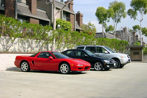 Acura NSX, Lexus IS300, Honda Pilot (front quarter - low)
