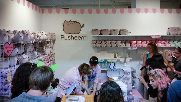 The first thing we see when we step inside the convention is the Pusheen booth.  He's not just a Facebook sticker!  The booth is packed!
