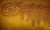 Possible depiction of Halley's Comet petroglyph, Chaco Canyon.<br /> © Cindy Clark
