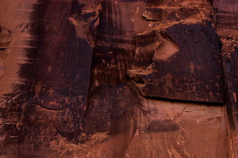 Petroglyphs along the Colorado River near Moab.<br /> Photo © Carl Clark