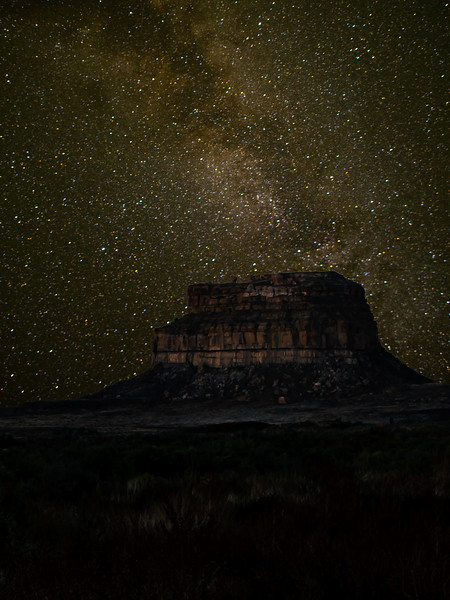 Fajada Butte and the Milky Way, Chaco Canyon.<br /> Photo © Cindy Clark