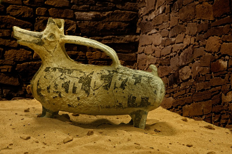Mancos pottery artifact from Edge of Cedars Museum, Blanding, Utah.<br /> Pueblo II - AD 900 - AD 1150.<br /> © Cindy Clark