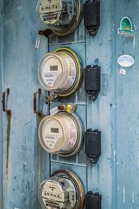 Electric meters on Washington Street.