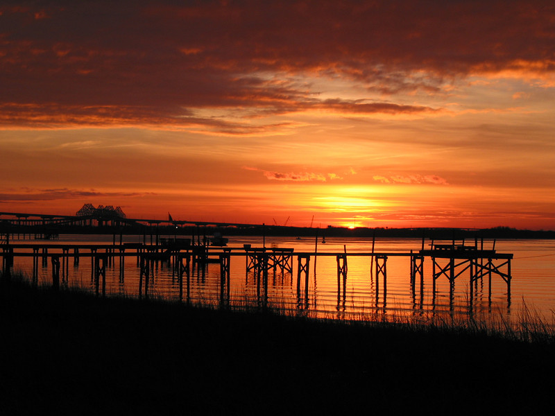 Hobcaw Point View of the Bridges at Sunset