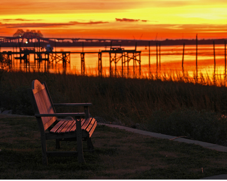 Hobcaw Sunset with the old Cooper River Bridges in the background.