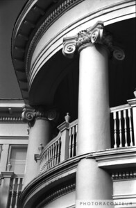 """Round Portico, Charleston, SC"" ~ B&W composition of classic columns and unique circular portico of a home in historic Charleston, SC along Colonial Lake."
