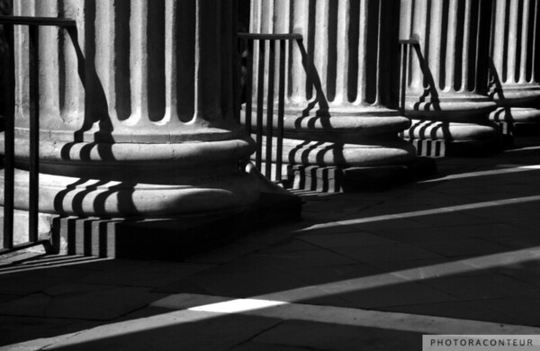"""Randolph Hall Columns & Shadows"" ~ B&W composition of columns and ironwork at historic Randolph Hall at the College of Charleston in South Carolina and the unique shadows created therefrom."