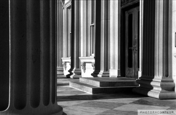 """U.S. Customs House No. 2, Charleston, SC"" ~ B&W composition of columns and their shadows on facade of the U.S. Customs House in historic Charleston, SC."