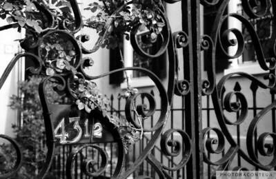 """43-1/2 Meeting Street No. 1, Charleston, SC"" ~ Wrought iron gate at historic home in Charleston, SC."