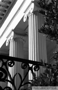 """Hibernian Iron & Columns No. 7"" ~ Photo of wrought iron gate and ionic columns at Hibernian Hall in historic Charleston, SC."
