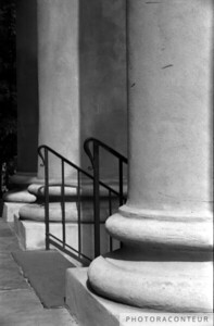 """St. Philips Columns No. 2, Charleston, SC"" ~ B&W composition of the columns at St. Philips church in historic Charleston, SC.  Notice the varying tonal values created by the shadows and locations of each column."