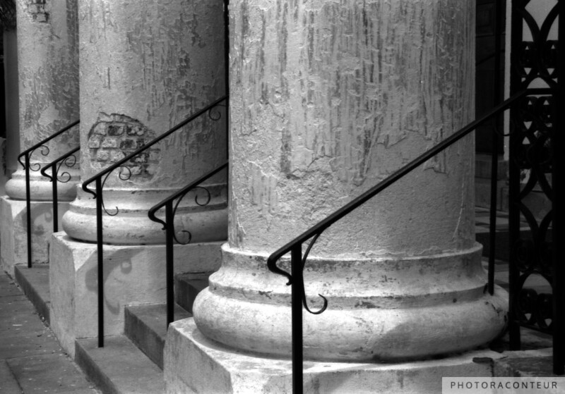 """St. Mary's Columns"" ~ B&W composition of the columns of St. Mary's Roman Catholic Church while it was under renovation.  This is a rare photo that can not be re-taken.  The congregation of St. Mary's was the first Roman Catholic Church in the Carolinas and Georgia.  The present building was completed in 1839 in the Classical Revival Style."