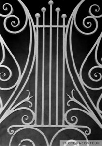 """Dock Street Gate"" ~ B&W composition of the wrought iron gate at the historic Dock Street Theater located in Charleston, SC."