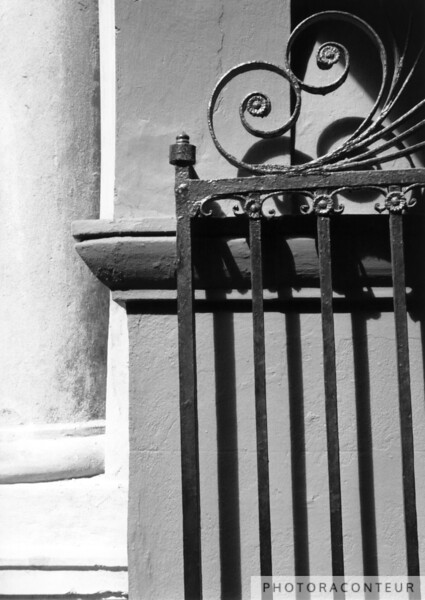 """Randolph Hall Iron Gate"" ~ B&W composition of gate at Randolph Hall on the College of Charleston campus in historic Charleston, SC.  Randolph Hall was featured in the movie The Patriot."