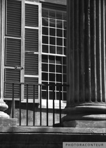 """Randolph Hall Columns & Shutters"" ~ B&W composition of columns and shutters of historic Randolph Hall at the College of Charleston in South Carolina."