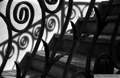 """Shadows & Stairs No. 3"" ~ B&W composition of wrought iron, stairs & shadows along Society Street in historic Charleston, SC."