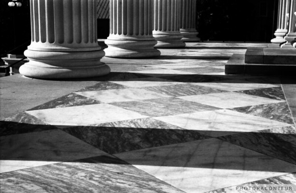 """U.S. Customs House No. 1, Charleston, SC"" ~ B&W composition of columns and their shadows on marble tiles of the U.S. Customs House in historic Charleston, SC."