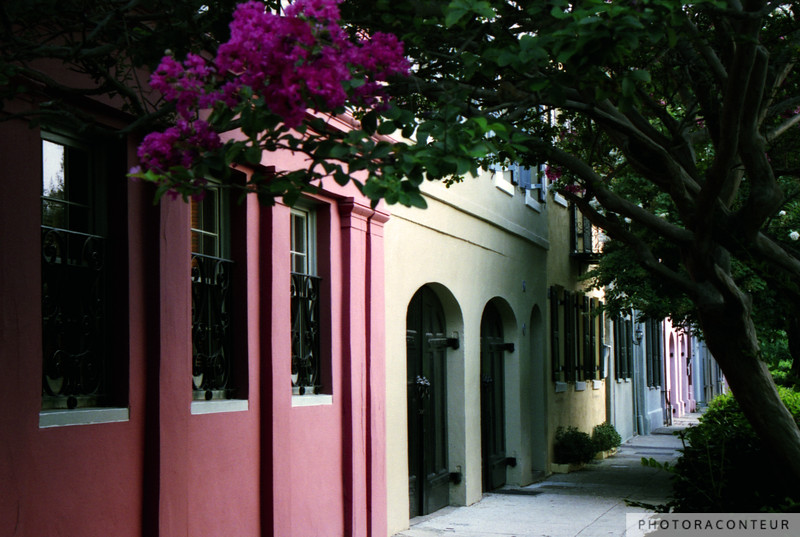 """Rainbow Row No. 3, Charleston, SC"" ~ A series of 18th-century merchant homes along East Bay have been painted in a variety of Carribbean-inspired pastels since the 1930s."