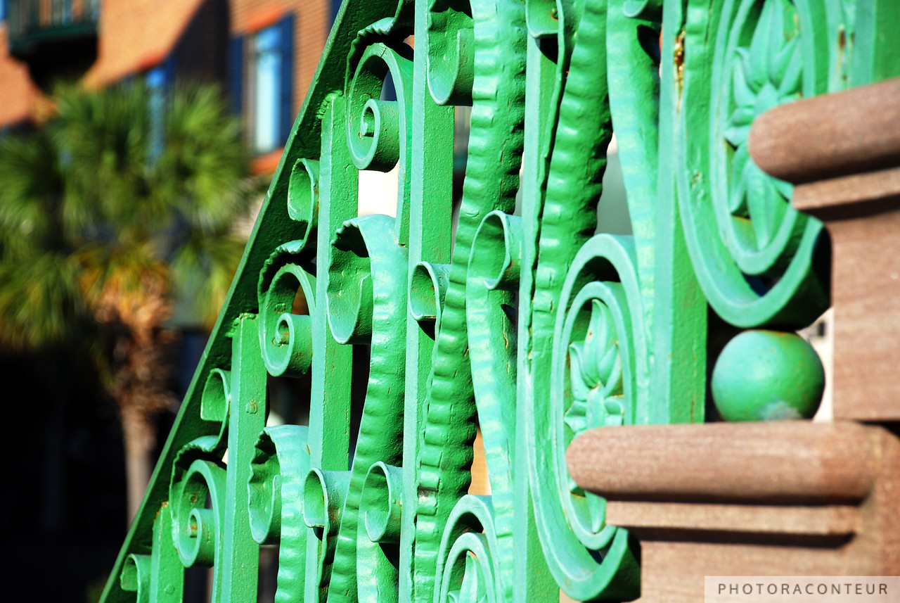 """Market Hall Cast Iron"" ~ Colorful composition of the cast iron stair rails at Market Hall in Charleston, SC. A Palmetto, the South Carolina state tree, appears out of focus in the distance creating a nice bokeh."