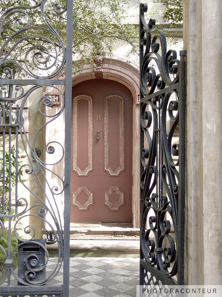 """""""Charleston Door & Iron Gate"""" ~ Door and iron gate in historic Charleston, SC.  A sepia toned version is also available, in my """"Charleston in Sepia"""" gallery."""
