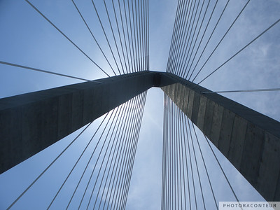 """New Cooper River Bridge No. 1"" ~ The new bridge over the Cooper River in Charleston, SC.  Composition of bridge towers resembles window reflections of two skyscrapers."