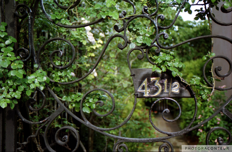 """43-1/2 Meeting Street"" ~ Charleston, South Carolina is a fantastic city to wander around in on foot and discover curious architectural details such as these intricate wrought iron gates with ""1/2"" in the address.  In older cities, the U.S. Post Office used to assign fractional addresses to accessory dwellings which shared a parcel with a main dwelling, such as carriage houses that were converted into separate living quarters, as large houses that where converted into duplexes, or as narrow lots were subdivided.  If you're lucky on your downtown walking ventures, you may even come across a rare 1/3 address!"