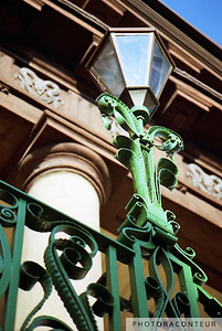 """Market Hall Gas Lantern"" ~ A gas lantern burns atop a beautiful green cast iron post at the entrance to Market Hall in historic Charleston, South Carolina.  Also see ""Market Hall Cast Iron"" ( http://bit.ly/MHcast)"