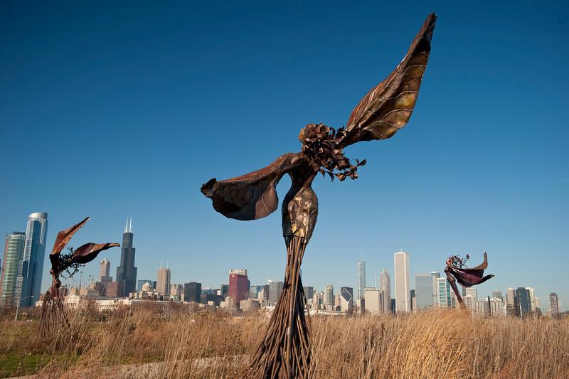 14 December 2009- Dessa Kirk's Daphne Garden sculptures on Northerly Island, Chicago.