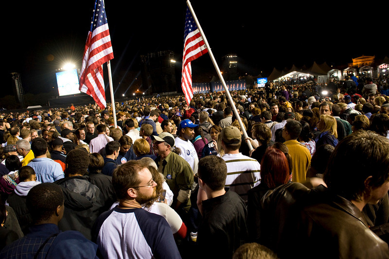 Tuesday, 4 November 2008- Election night in Grant Park at the victory rally for Barack Obama.