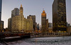 Wednesday, 21 January 2009-  Sunset at the start of the Magnificent Mile at the Michigan Avenue bridge and the frozen Chicago River.