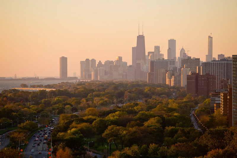 Thursday, 23 October 2008- The Chicago skyline at sunrise as seen from the north edge of Lincoln Park.
