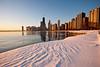 11 February 2010- Cold morning sunrise near North Avenue beach on the Lake Michigan lakefront.