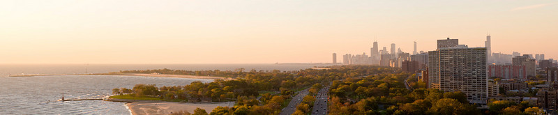 Thursday, 23 October 2008- Sunrise panorama from the north edge of Lincoln Park with Lake Michigan on the left and the Chicago skyline in the distance.