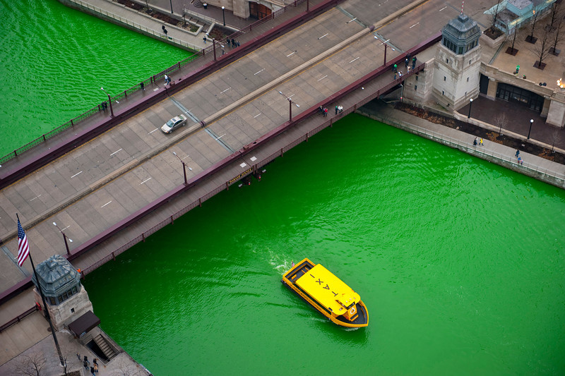 13 March 2010- The Chicago River glowing after the annual dyeing for the City's St. Patrick's Day celebrations.