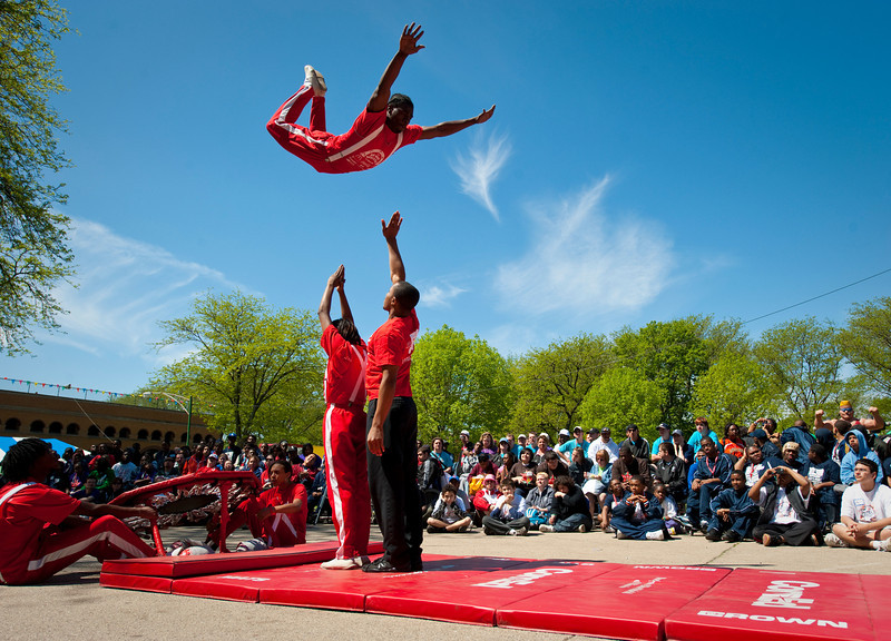 6 May 2010- The Jesse White Tumblers perform at the Chicago Special Olympics Spring Games at Eckersall Stadium on Chicago's south side.