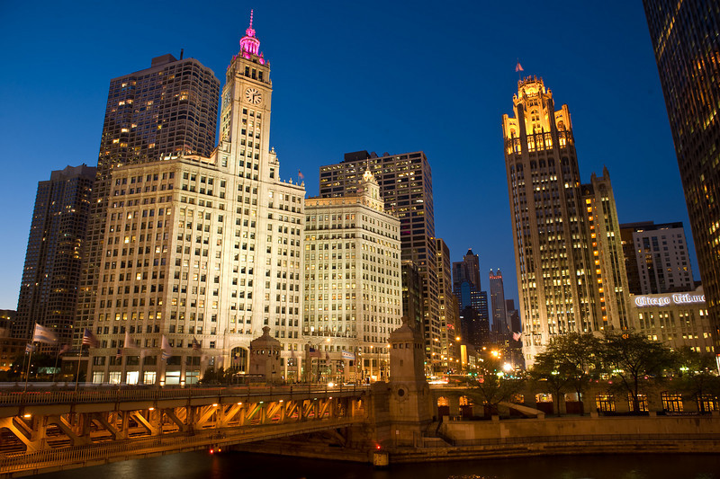Thursday, 30 October 2008-  Dusk near the Michigan Avenue bridge, gateway to the Magnificent Mile.  At left is the Wrigley Building; at right is the Tribune Tower.