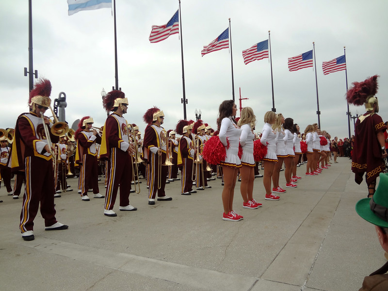 University of Southern California Cheerleaders and Marching Band at Navy Pier in Chicago