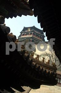 Foxiang Temple through eaves
