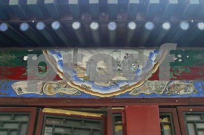 Mural Everywhere throughout the Summer Palace, and particularly in a hallway cleverly named 'The Long Hallway', there are paintings showing scences from popular classical fiction.  In the original you can see the pictures very clearly.  This mural is (I believe) of a story (San Gu Maolu) in the Romance of the Three Kingdoms (Sanguo Yanyi).