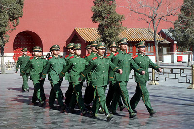 PLA marching out of the Forbidden City