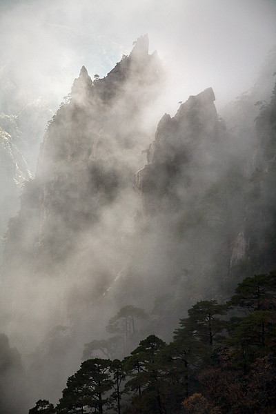 Yellow Mountain in Clouds - Huangshan, China