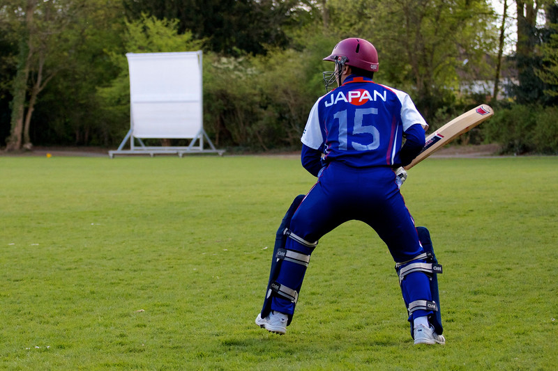 Warming Up. Japan's national cricket team v The Authors XI at Chiswick House. April 2013.
