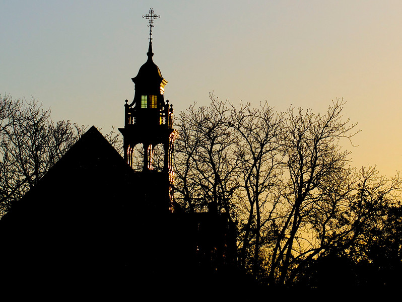 Sunrise over St Michael and All Angels Church, Bedford Park, Chiswick. April 2013.