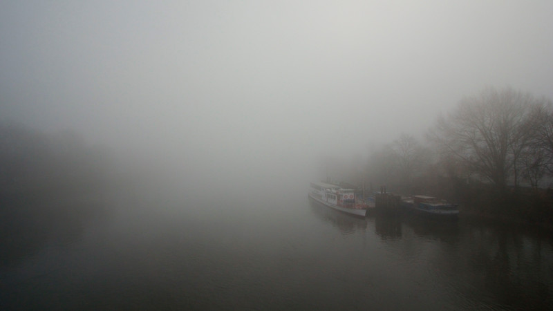 Queen Elizabeth, built in 1926, still gracing the foggy Thames at Kew Pier in west London. December 2013.