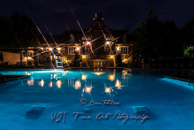 Manor House aand Pool at Night