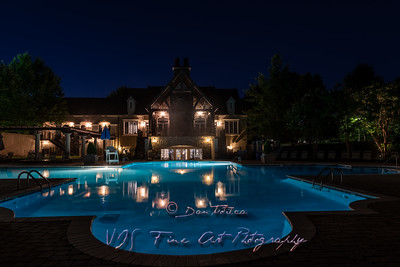 Manor House and Pool at Night